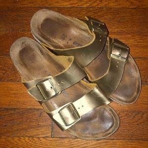 Birkenstock gold metallic leather sandals Arizona